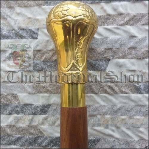 Vintage+Brass+Designer+Antique+Walking+Cane+Wooden+Walking+Stick+Vintage+Canes