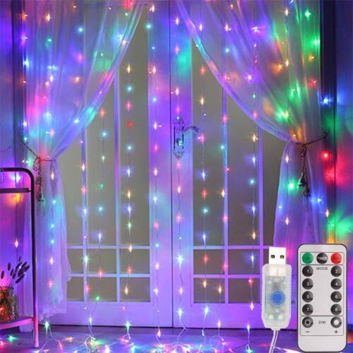 3*3 M 300 LED Xmas Window Curtain Lcicle Fairy String Lights