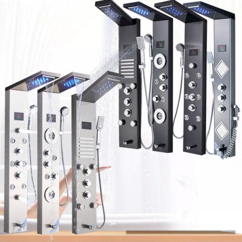 ELLO&ALLO LED Shower Panel Tower Rain&Waterfall Massage Body System Jets Mixer