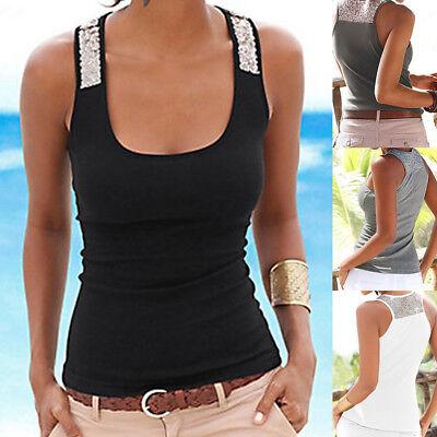 Womens Sleeveless Sequin Vest Tank Tops Summer Beach Casual Blouse T Shirt US - Sequin Vest