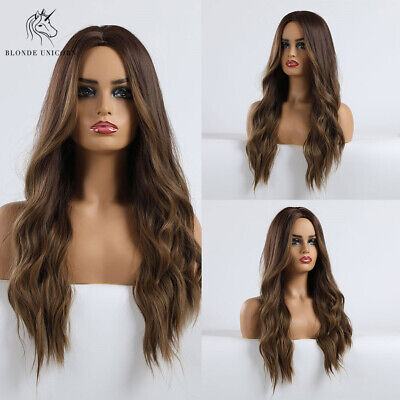 Women's Long Curly Wavy Wigs Brown Gold Blonde Loose Wave Hair Ombre Party -