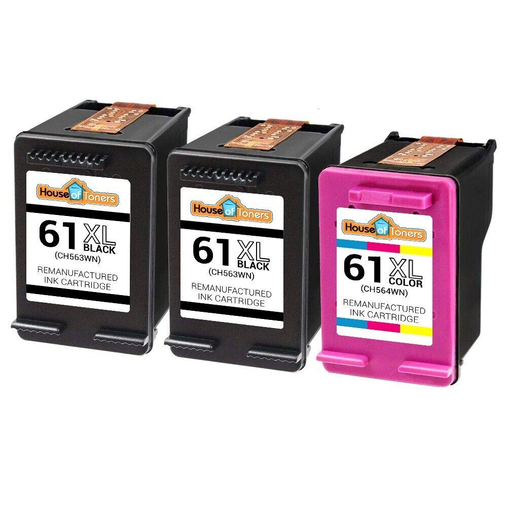 Details about 3 PACK for HP 61 XL Black Color Cartridges for Deskjet 3056A  3510 3511 3512 3516