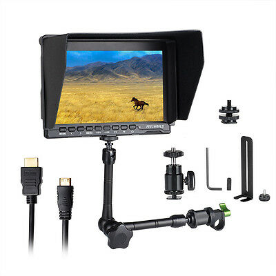 "US Feelworld FW759 7"" IPS LCD Video DSLR Camera Monitor +Magic Arm +Rod Clamp"