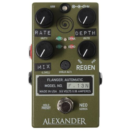 Alexander F-13 Neo Flanger Guitar Effects Pedal F.13 Stompbox F13 Army Green
