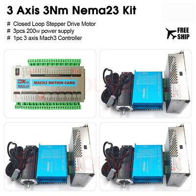 3axis Closed Loop Stepper Motor 3nm Nema23 Driver Kit Mach3 Motion Controller
