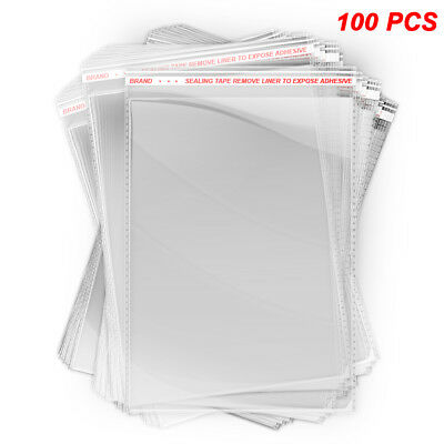 100 pcs Clear Polybag Self Adhesive Seal Plastic Bags for Clothes, 8.5x12 inches (Clear Adhesive)