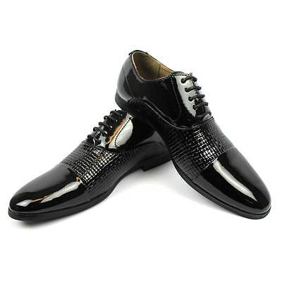-  Mens Dress Black Tuxedo / Formal Cap Toe Patent Textured Shinny Shoes By AZAR