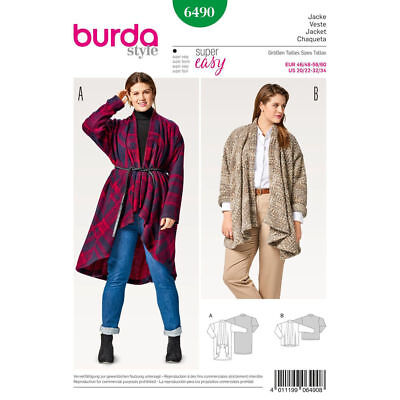 Burda 6490 Sewing Pattern Women's EASY Jackets Wraps Cardigans Plus Sizes 20-34