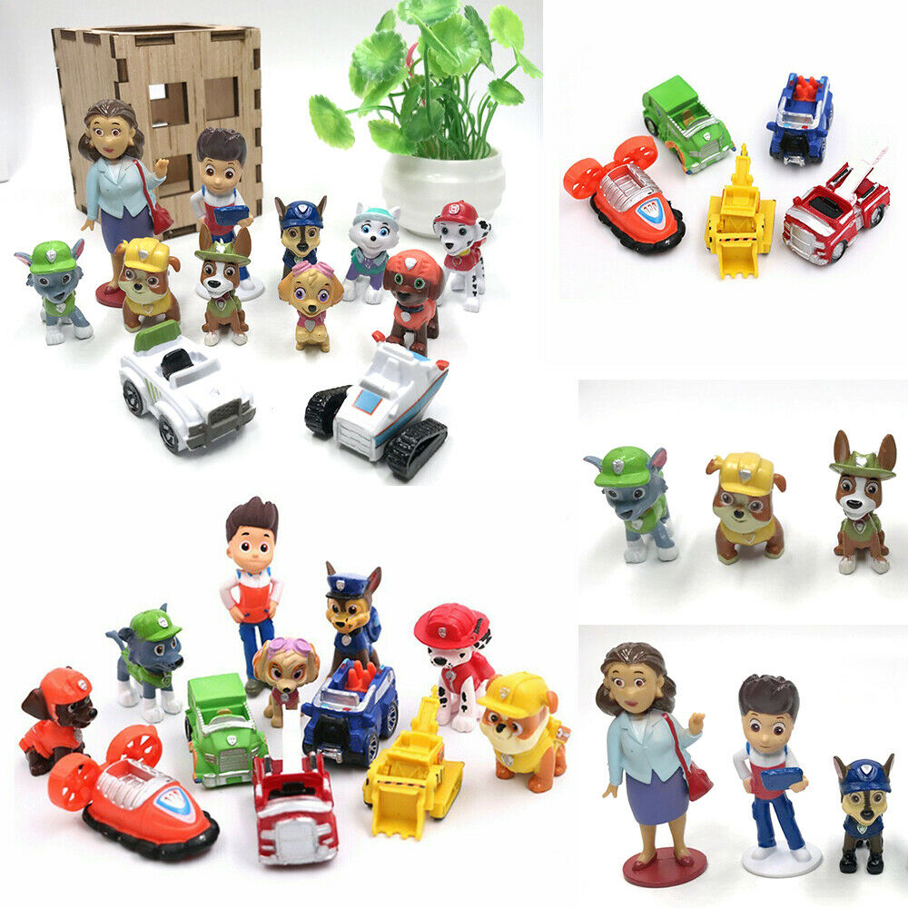Paw Patrol Ryber Pups Vehicles Cute Figure Cake Topper Kids Gift Doll Toy Set Toys & Hobbies