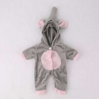10-11inch DIY Baby Reborn Doll Clothes Grey Elephant Romper Jumpsuit(NO DOLL)