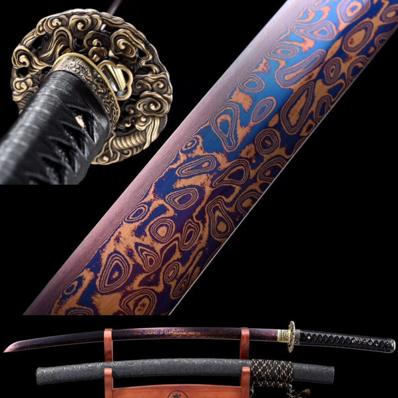 Purple Damascus Folded Steel Japanese samurai Sword Dragon Katana Sharp Blade
