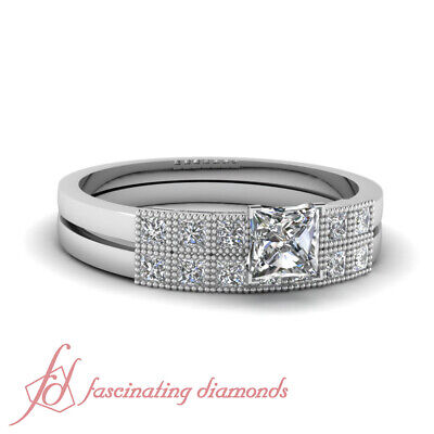 .85 Ct Princess Cut Untreated Diamond Milgrain Style Wedding Rings Set SI1 GIA