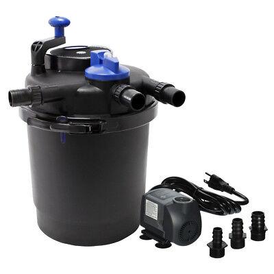 1500 Gallon Pressurized Bio Koi Fish Pond Filter w/ 13w UV + 1200GPH Water -