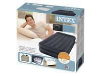 Intex Single Twin Size Raised Inflatable Air Bed With Built-in Electric Pump 66706 NEW