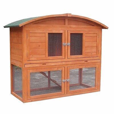 Hasenstall mit Runddach aus Holz Kaninchen Stall Kleintierstall Hasenkäfig