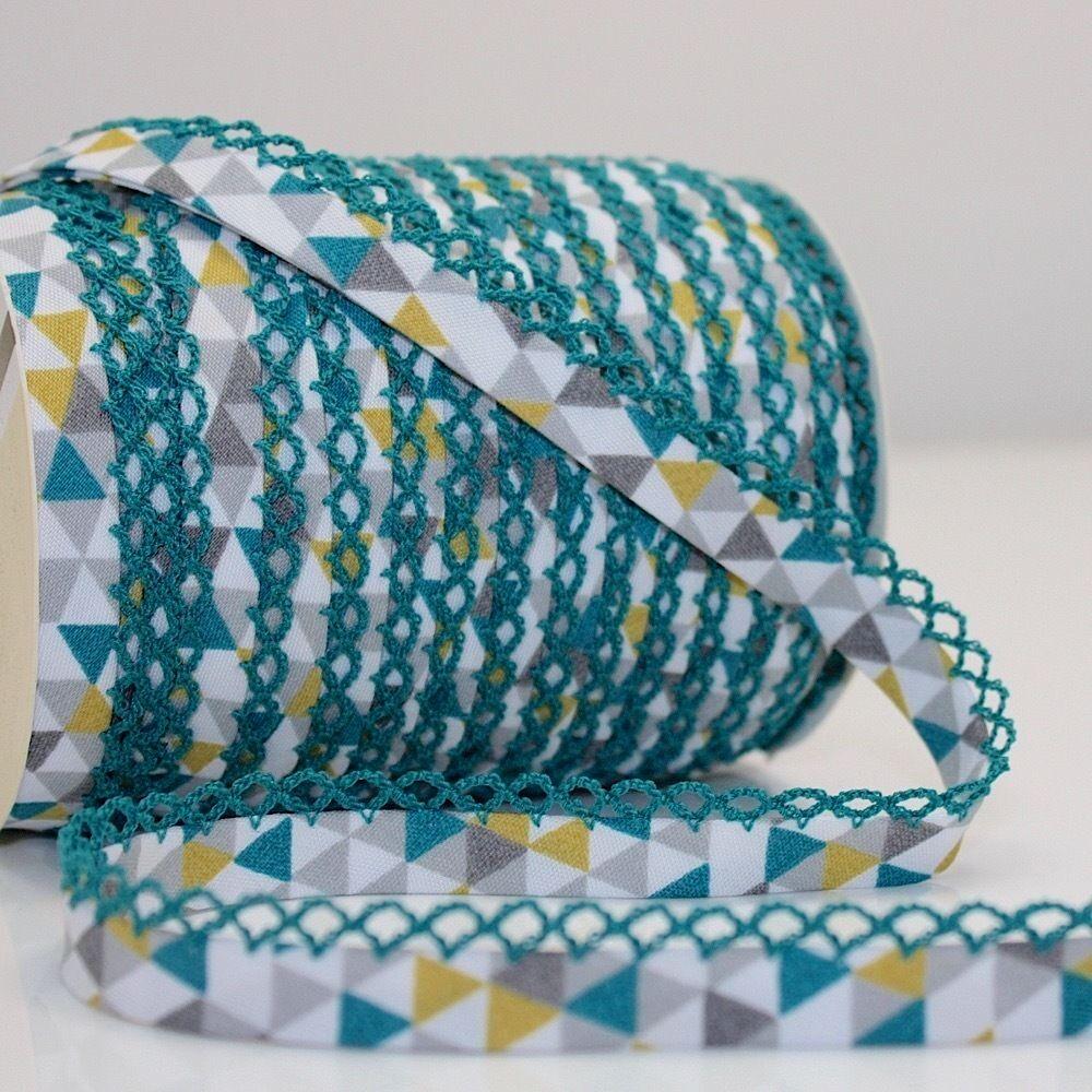 Cotton Trim Edging Modern St 18mm Blue 608 Triangle Geometric Bias Binding