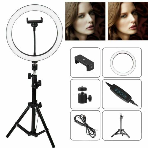 "10"" LED Ring Light w/Stand & Mount Kit for Camera Phone Selfie Video Live Stream"