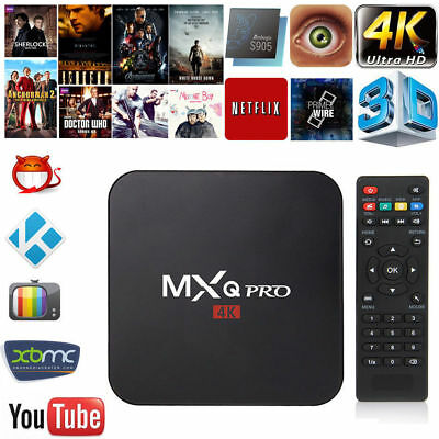 MXQ Pro 4K 3D 64Bit Android 7.1 Quad Core 1080P HDMI WIFI KODI 17.6 Smart TV Box