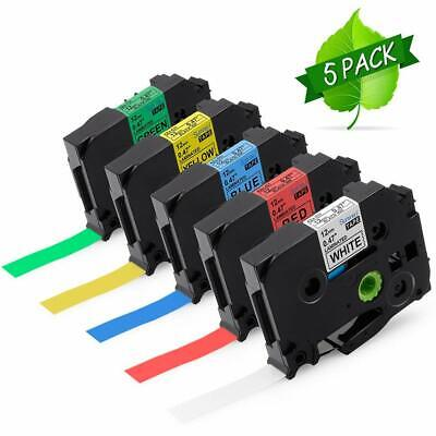 5pk Tze-231 431 531 631 731 Compatible With Brother P-touch Label Maker Tape 12
