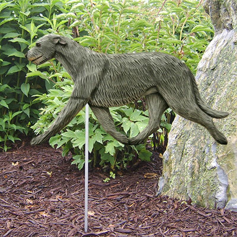 Irish Wolfhound Outdoor Garden Sign Hand Painted Figure Gray