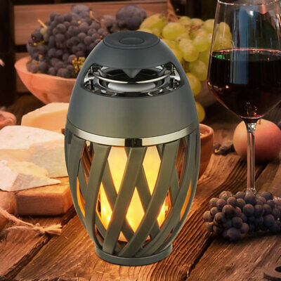 LED garden table lamp Bluetooth outdoor speaker fire effect battery lamp terrace