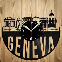 Vinyl Clock Geneva Skyline Vinyl Record Clock Handmade Original Gift 7088
