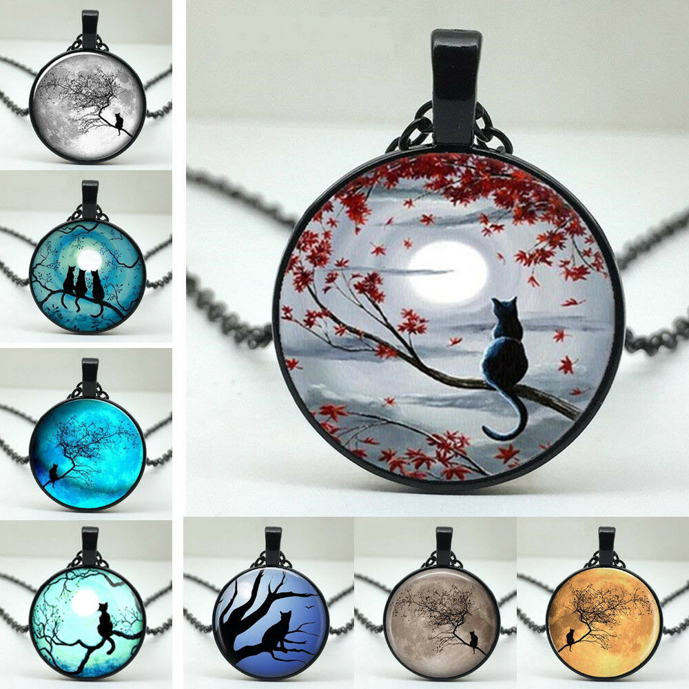 Jewellery - UK MOON CAT PENDANT NECKLACE Chain Glass Jewellery Gift Idea Kitten Kitsch