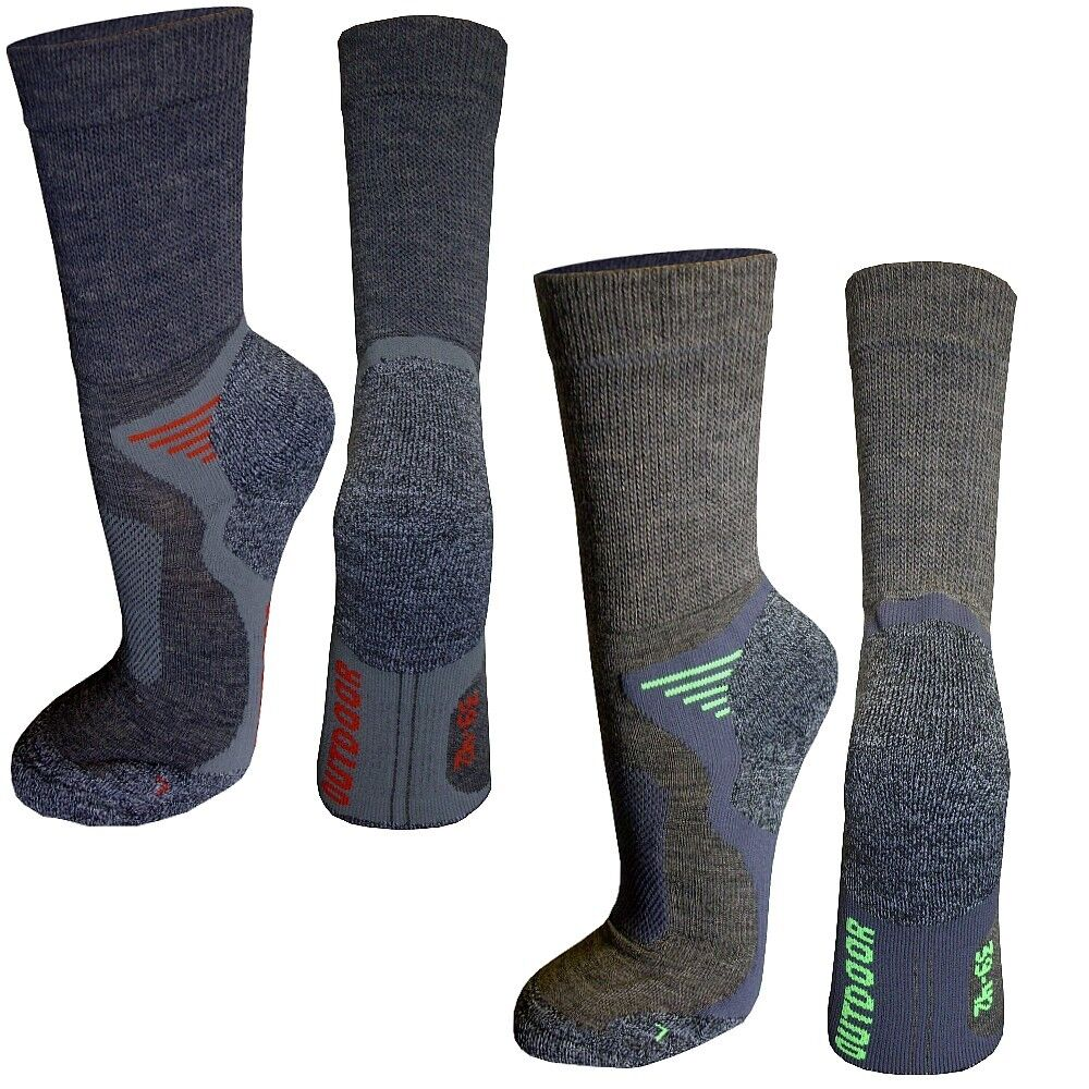 2 Paar Trekkingsocken Wander Funktions Outdoor Sport Socken, 16% Wolle // Merino