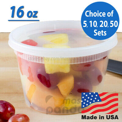 16 oz Heavy Duty Medium Round Deli Food/Soup Plastic Containers w/ Lids BPA free Heavy Duty Containers