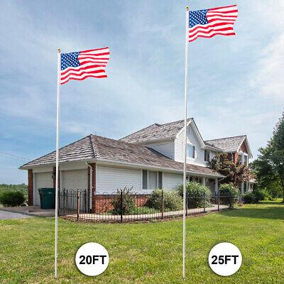20'/25' Flag Pole Aluminum Telescopic Flagpole Kit U.S Flag Ball Fly 2 Flags