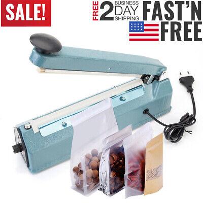 Impulse Heat Poly Bag Sealer Plastic Closer Machine Teflon Sealing 30cm Wrap 12