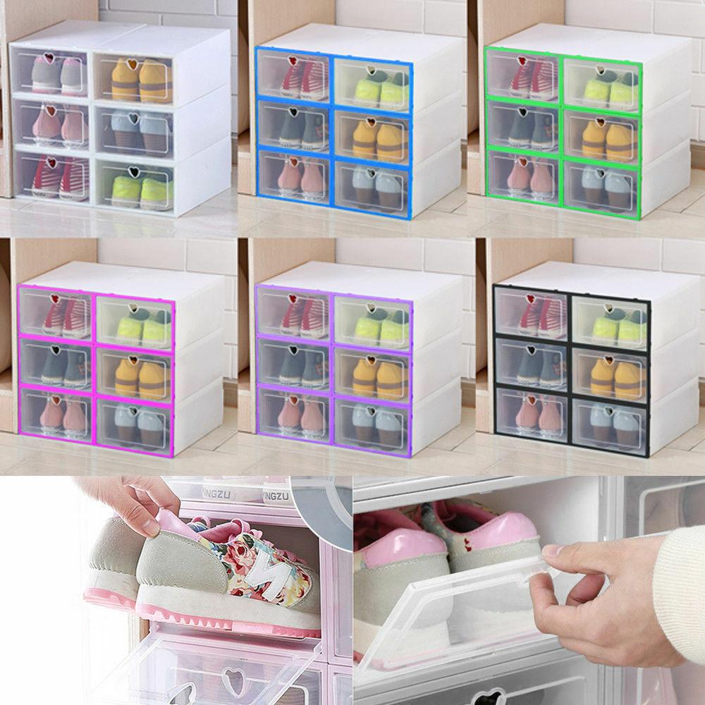 6/12x Schuhbox Set stapelbar Aufbewahrungsbox Kunststoffbox Schuhkarton Schublad