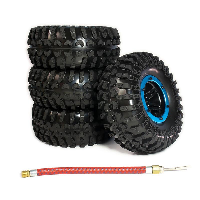 4pcs 3022 Inflatable Wheel Tires Rims 2.2 Beadlock Alloy Crawler Set RC 1/10 Car