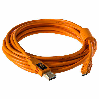Tether Tools CU5430 USB 2.0 Male to Micro-B Tethering Cable 15ft. Hi-Vis Orange