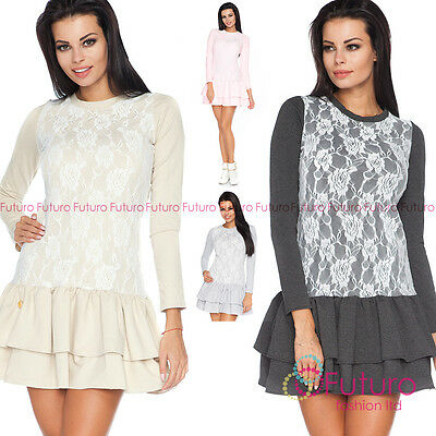 Tiered Fass (Womens Lovely Tiered Lacy Mini Dress Party Long Sleeve Sizes 8 - 10 FA450)