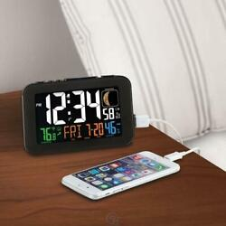 The Smart Phone Charging Atomic Alarm Clock Large LED Numbers Always Accurate
