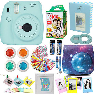 Fujifilm Instax Mini 9 Ready-to-serve Camera Ice Blue + 20 Film + Sky Encase Acc Bundle