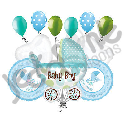 Welcome Home Baby Party Decorations (11 pc Baby Boy Buggy Balloon Bouquet Party Decoration Welcome Home Shower)