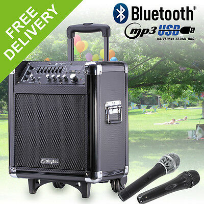 """Skytec ST065 Portable Battery Powered Active Guitar Amplifier Vocal PA MP3 8"""""""