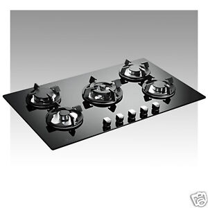 5 Ring Premier Range 90cm Black Glass Built-In FSD Gas Hob P-Series Pro