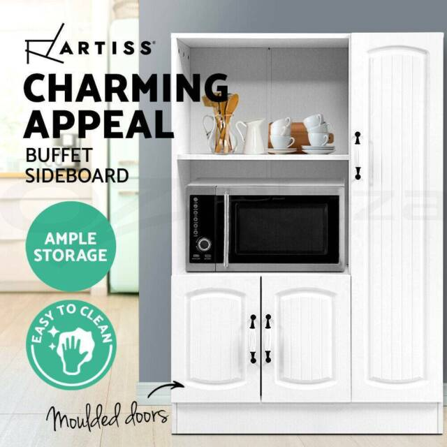 Buffet Sideboard Cabinet Storage Cupboard Doors White ...