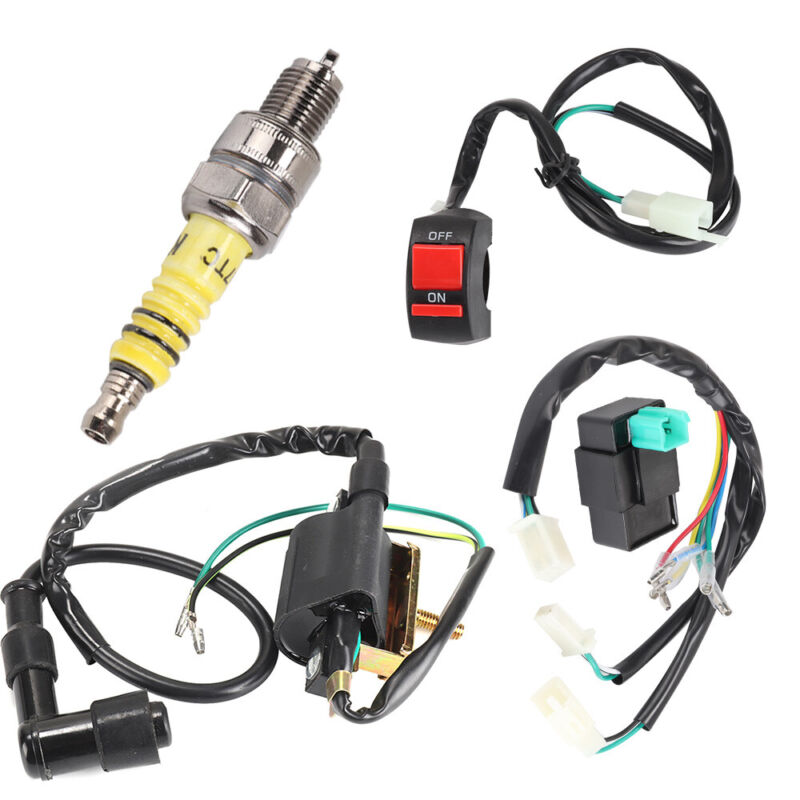 Wiring Loom On Off Kill Switch Coil Cdi Spark Plug Kit For 110 125 140cc Bike