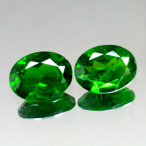 2.12cts 8x6mm Nice Oval Pair Natural Chrome Green Diopside Genuine Gemstones