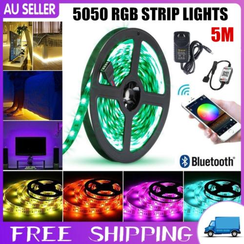 Bluetooth Controller RGB LED Strip Lights IP65 Waterproof 5050 5M 300 LEDs 12V