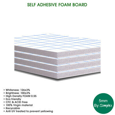 SELF ADHESIVE 5MM A1 FOAM BOARD (10 in a pack), High Density Foam, Eco Friendly