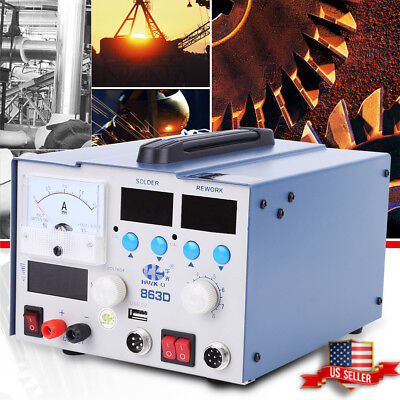 3 In 1 Soldering Rework Station Solder 800w 110v Hot Air Gun Power Supply Us