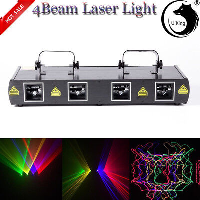 Bühnen Licht 460mW 4 Lens Beam RGPY DJ Laser Lights Party Show DMX 7CH Disco