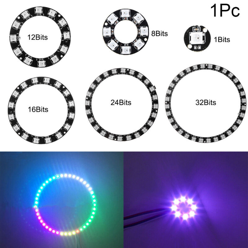 1X WS2812 5050 RGB LED Ring 24Bit RGB LED Integrated Drivers For Arduino TETXI