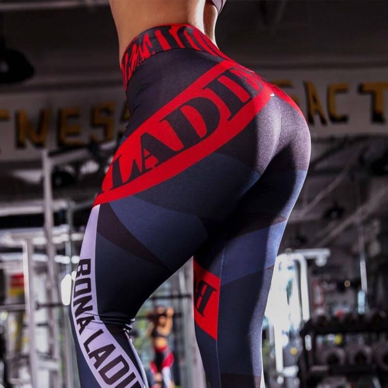 Damen Mehrfarbig Leggings Push Up Sporthose Fitness Gym Jogging Yoga Jogginghose