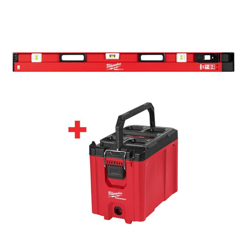 "Milwaukee MLXPM78 48""-78"" Expandable Level w/ FREE 48-22-8422 PACKOUT Tool Box"